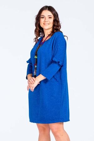 V FRATTA - Büyük Beden Kolu Fırfırlı İndirimli Elbise Reflex Mavi Vf1716 (1)