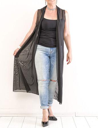 Angelino Fashion - Büyük Beden Komple Puantiye Detay Yelek KL837 Siyah (1)