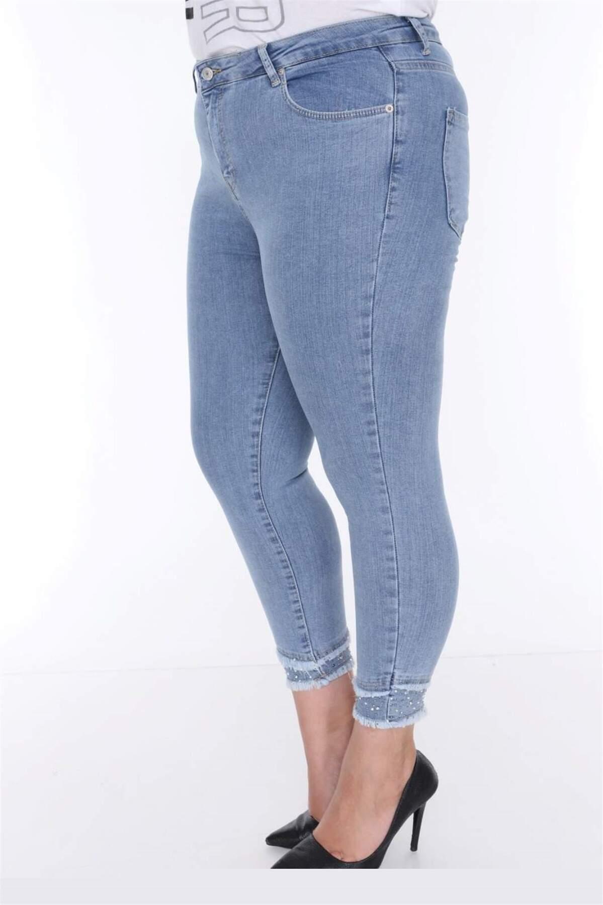 Büyük Beden Kot Pantolon Yırtık Paça Detay MF23021 Mavi