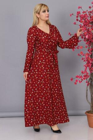 Angelino Fashion - Büyük Beden Kolları Volanlı Krep Çiçek Desenli Kemer Detaylı Tesettür Elbise BTR6605 Bordo (1)