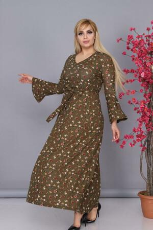 Angelino Fashion - Büyük Beden Kolları Volanlı Krep Çiçek Desenli Kemer Detaylı Tesettür Elbise BTR6605 Haki (1)