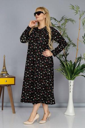 Angelino Fashion - Büyük Beden Krep Yuvarlak Yaka Çiçek Desen Tesettür Elbise BTR7565 Siyah (1)