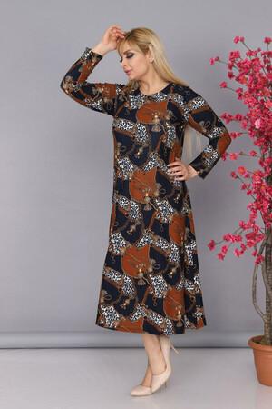 Angelino Fashion - Büyük Beden Krep Yuvarlak Yaka Zebra Çiçek Desen Tesettür Elbise BTR7088 Siyah (1)