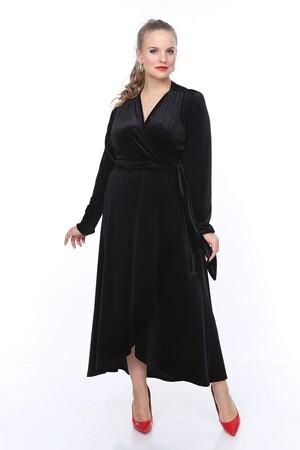 Angelino Butik - Büyük Beden Kruvaze Yaka Bel Kemer Detay Kadife Kısa Abiye Elbise PNR5306 Siyah (1)