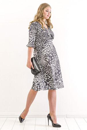 Angelino Butik - Büyük Beden Zebra Desen Sandy Kısa Elbise KL840 Zebra (1)