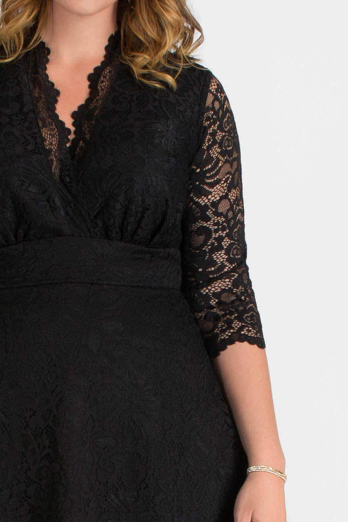 Büyük Beden Likralı Dantelli Kısa Elbise Siyah KL70088