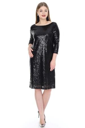 Angelino Butik - Büyük Beden Mini Payetli Abiye Elbise KL5601 (1)