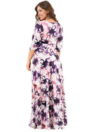 Angelino Butik - Büyük Beden Mor Çiçekli Uzun Abiye Elbise DD2407 (1)