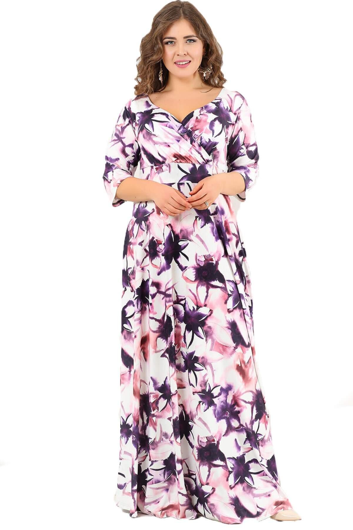 Büyük Beden Mor Çiçekli Uzun Abiye Elbise DD2407