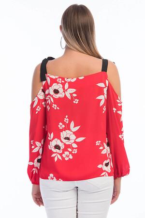 Angelino Fashion - Büyük Beden Nar çiçeği Omzu Düşük Bluz FR01 (1)