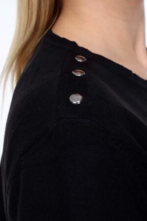 Angelino Fashion - Büyük Beden Omuz Düğme Detay Triko Tunik BPF6687 Siyah (1)