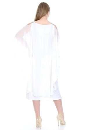 Angelino Butik - Büyük Beden Omuzları Taşlı Askılı Şifon Elbise KL805 (1)
