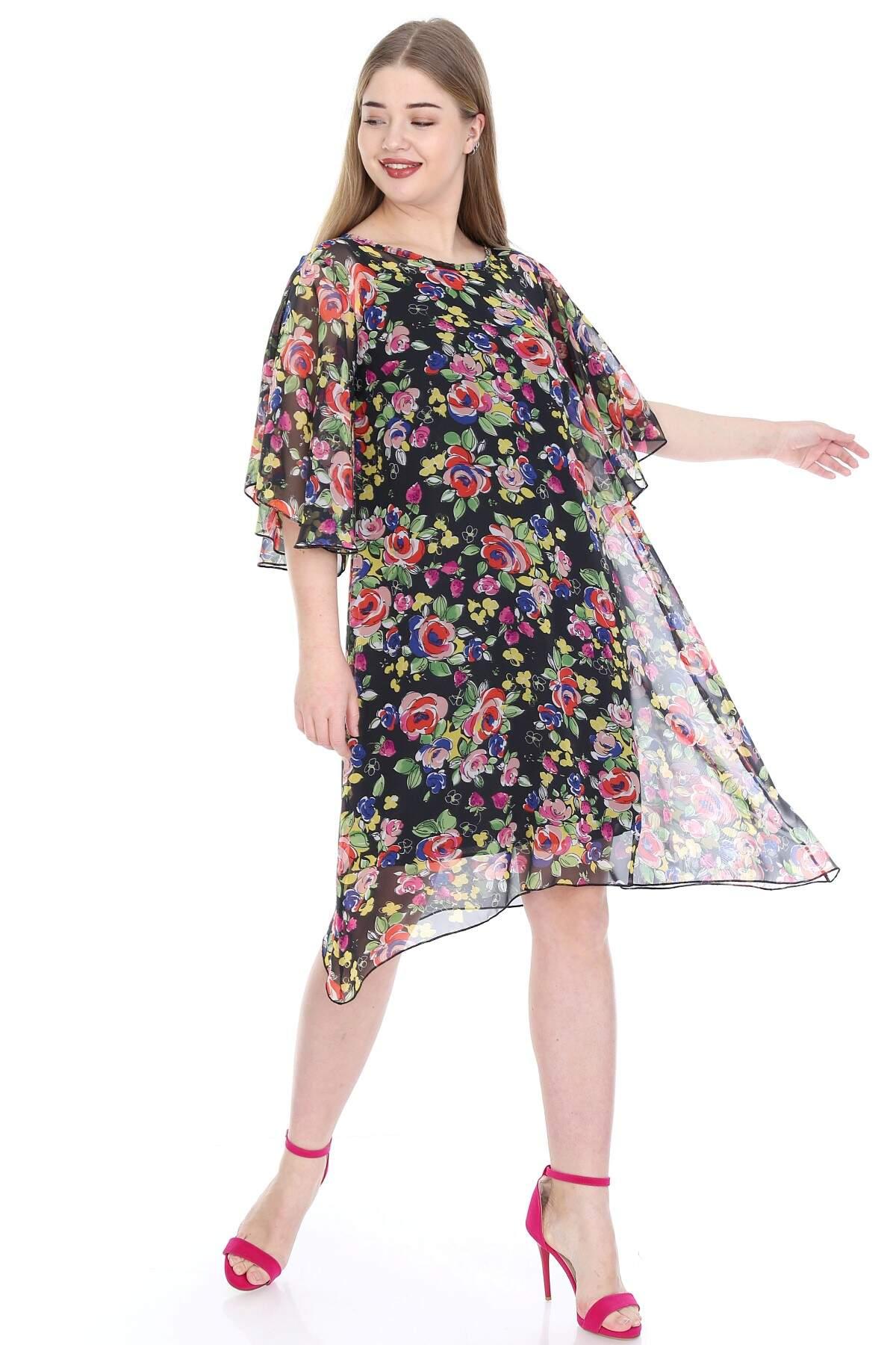 Büyük Beden Salaş Şifon Elbise KL813