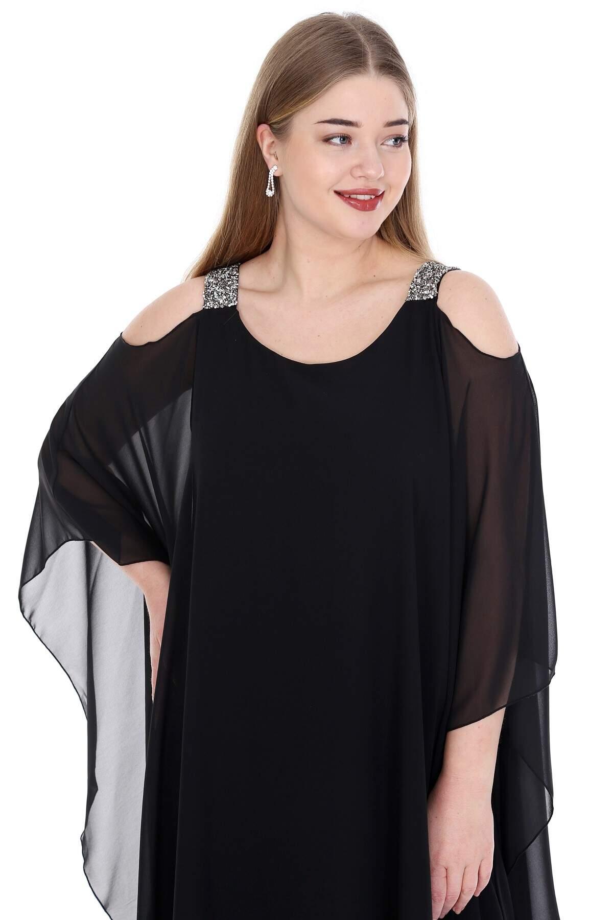Büyük Beden Omuzları Taşlı Askılı Şifon Elbise KL805