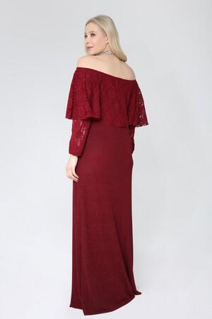 Angelino Butik - Büyük Beden Omzu Açık Uzun Simli Abiye Elbise 387 (1)