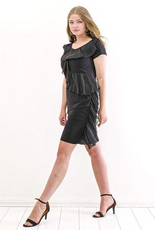 Angelino Butik - Büyük Beden Ön Şifon Fırfır Detay Kısa Abiye Elbise KL7898 Siyah (1)