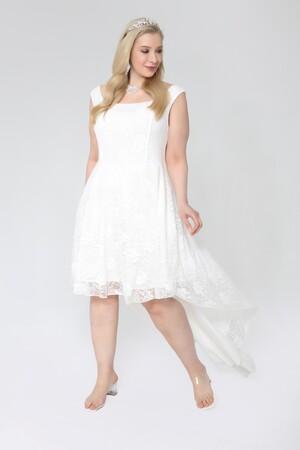 Angelino Butik - Büyük Beden Önü Kısa Arkası Öpücük Yaka Prenses Elbise PNR036 (1)