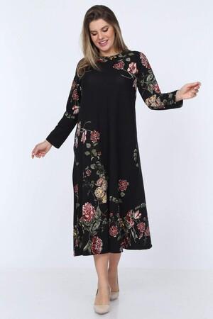 Angelino Fashion - Büyük Beden Örme Çiçek Detay Yuvarlak Yaka Uzun Elbise YM88 Siyah (1)