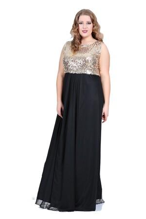 Angelino Butik - Büyük Beden Payetli Uzun Elbise KL7885 (1)