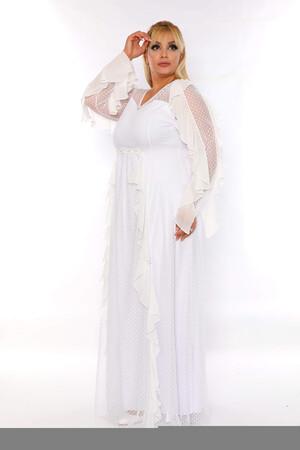 Angelino Butik - Büyük Beden Puantiye Tül Detay Uzun Abiye Elbise PNR2605 Beyaz (1)