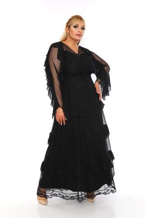 Angelino Butik - Büyük Beden Puantiye Tül Detay Uzun Abiye Elbise PNR2610 Siyah (1)