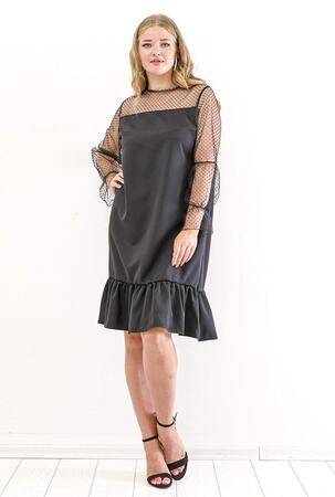 b86fbddf4febd Büyük Beden Üst Puantiye Tül Detay Abiye Elbise KL824 Siyah Kısa Abiye  Elbise Angelino Butik %Renk%