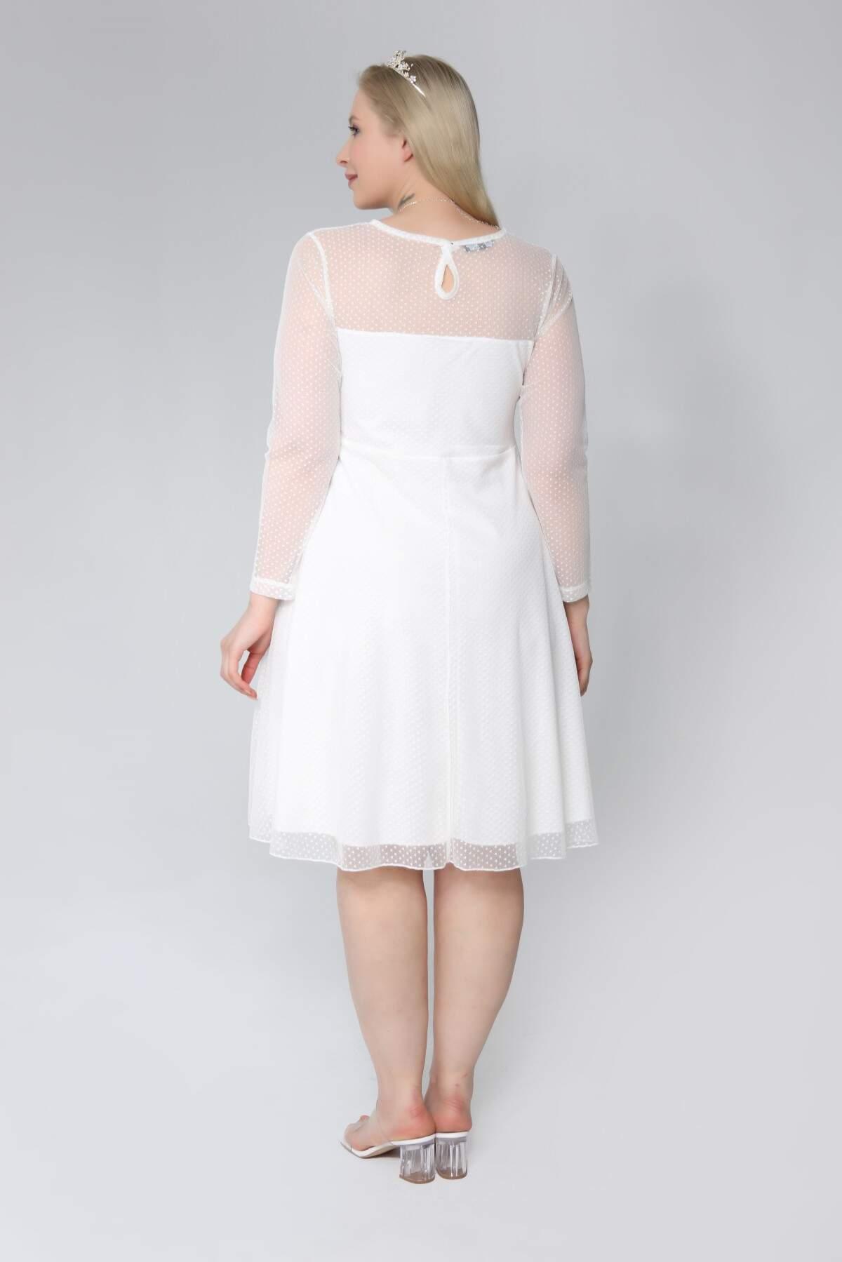 Büyük Beden Puantiye Tüllü Kısa Abiye Elbise PNR1640 Beyaz