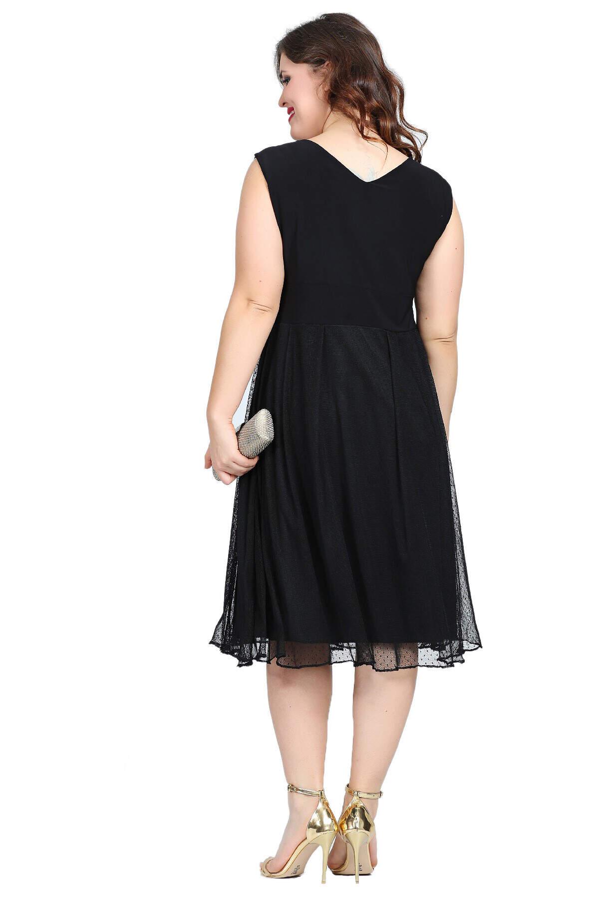 Büyük Beden Puantiye Tüllü Mini Abiye Elbise KL7878 Siyah