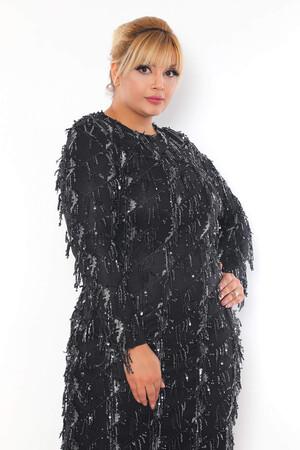 - Büyük Beden Sarkıtma Saçaklı Pul Detay Abiye Elbise BYM3233 Siyah (1)