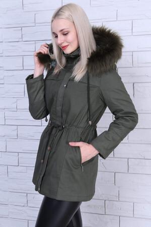 Angelino Fashion - Büyük Beden Şapka Kürk Detay Mont MD1325 Haki (1)