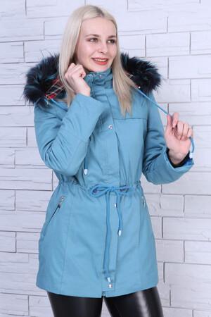 Angelino Fashion - Büyük Beden Şapka Kürk Detay Mont MD1325 Mavi (1)