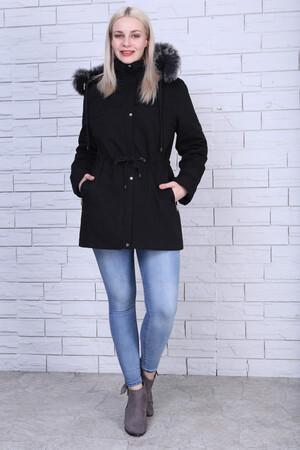 Angelino Fashion - Büyük Beden Şapka Kürk Detay Mont MD1325 Siyah (1)