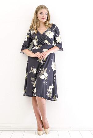 Angelino Fashion - Büyük Beden Sarı Gül Desen Sandy Kısa Elbise KL840 Siyah (1)