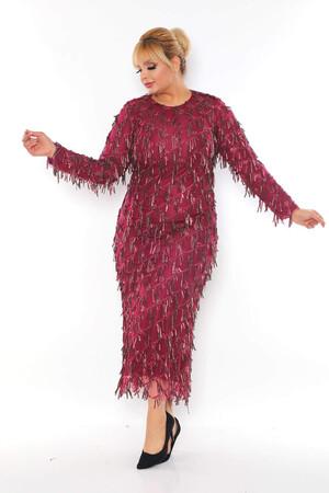 - Büyük Beden Sarkıtma Saçaklı Pul Detay Abiye Elbise BYM3233 Bordo (1)