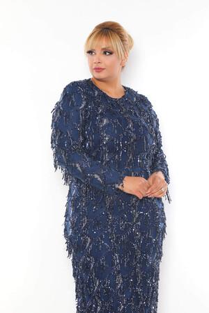 - Büyük Beden Sarkıtma Saçaklı Pul Detay Abiye Elbise BYM3233 Indigo (1)