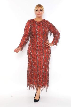 - Büyük Beden Sarkıtma Saçaklı Pul Detay Abiye Elbise BYM3233 Turuncu (1)
