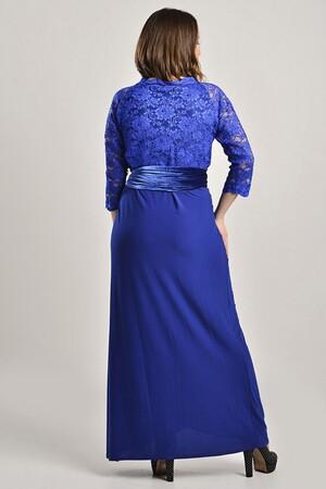 Angelino - Büyük Beden Sax Uzun Abiye Elbise MD8756 (1)