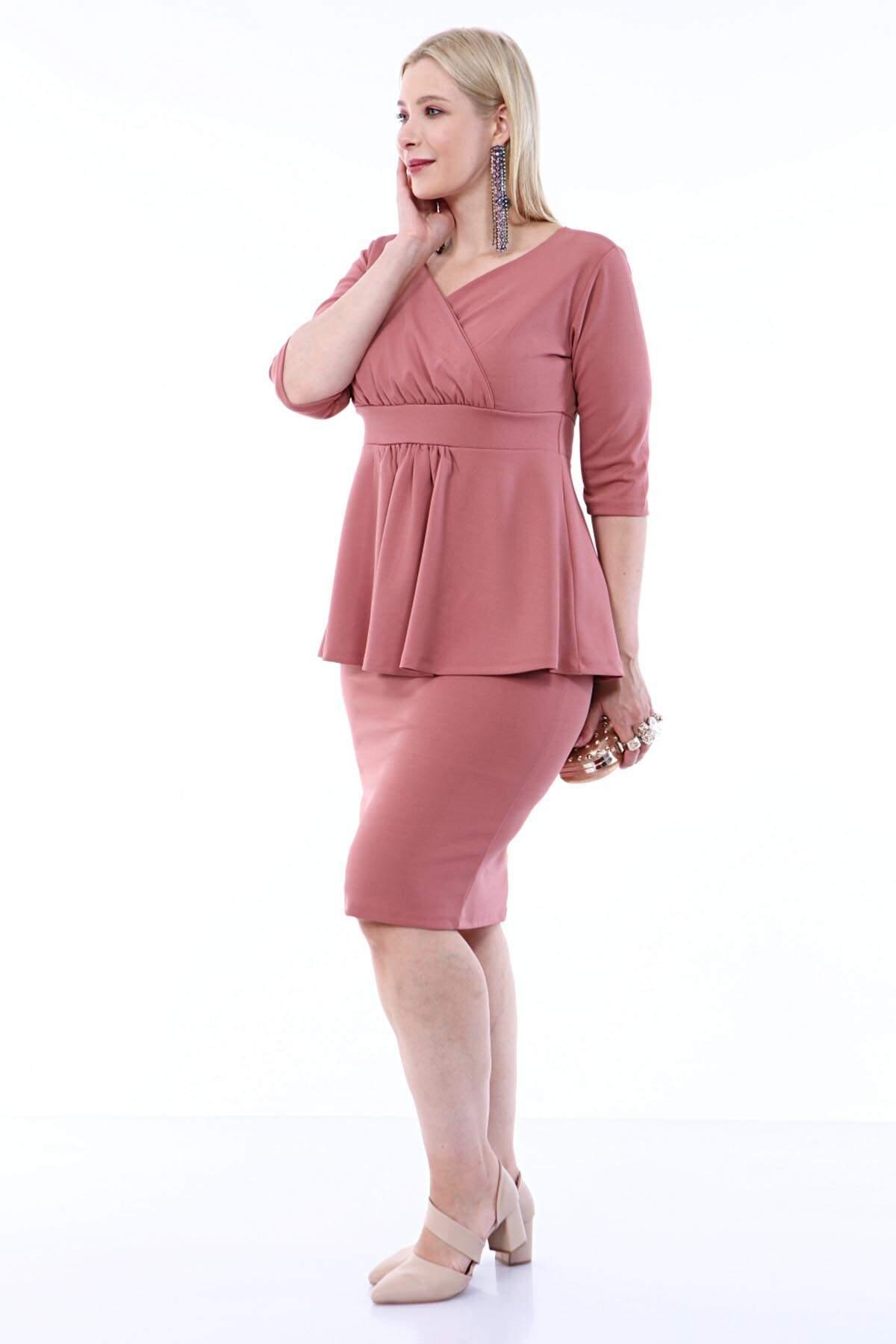 Büyük Beden Scuba Abiye Etek Bluz 2li Takım SCB20684