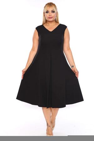 Angelino Butik - Büyük Beden Sıfır Kol Scuba Elbise KL900 Siyah (1)