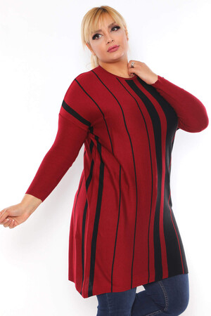 Angelino Fashion - Büyük Beden Sıfır Yaka Çizgi Detay Tesettür Tunik BYM4301 Bordo (1)