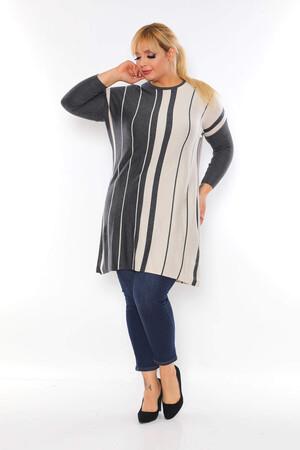 Angelino Fashion - Büyük Beden Sıfır Yaka Çizgi Detay Tesettür Tunik BYM4301 Gri (1)