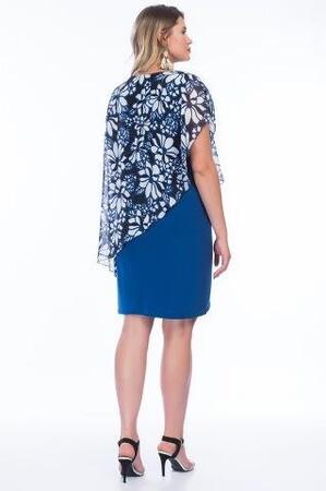 Angelino Butik - Büyük Beden Şifon Çiçekli Kısa Elbise PNR8900 (1)