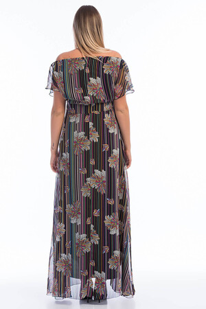 Angelino Butik - Büyük Beden Şifon Elbise KL7881d (1)