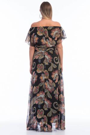 Angelino Butik - Büyük Beden Şifon Elbise KL7881d- Şal (1)