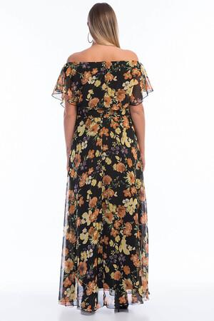 Angelino Butik - Büyük Beden Şifon Elbise KL7881d- Sarı (1)