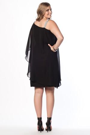 Mangolino Dress - Büyük Beden Şifon Elbise MD6060K Siyah (1)