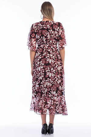 Angelino Butik - Büyük Beden Şifon Uzun Elbise PNR7713 (1)