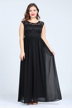 Angelino Butik - Büyük Beden Şifon Kolsuz Uzun Abiye Elbise KL4009 (1)