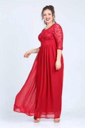 Angelino Butik - Büyük Beden Şifon Likralı Uzun Abiye Elbise KL4009K (1)