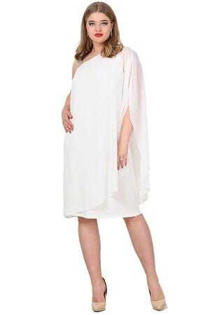Angelino Butik - Büyük Beden Şifon Tek Taraf Askılı Elbise KL6060K (1)